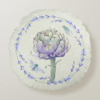 Artichoke and Bee Provence Round Pillow