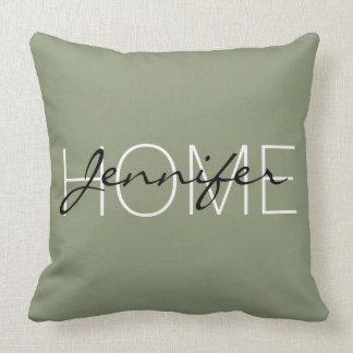 Artichoke color home monogram throw pillow