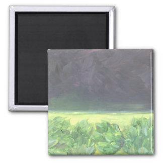 Artichoke field and Aubergine sky 2 Inch Square Magnet
