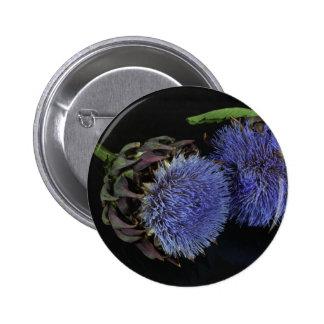 Artichoke flowers pinback button