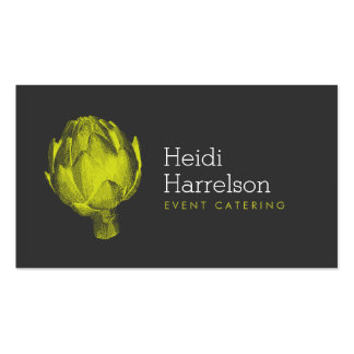 Artichoke Illustration Green/Gray - Catering, Chef Double-Sided Standard Business Cards (Pack Of 100)