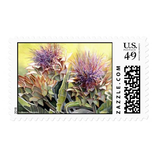 Artichoke in Bloom II Postage Stamp
