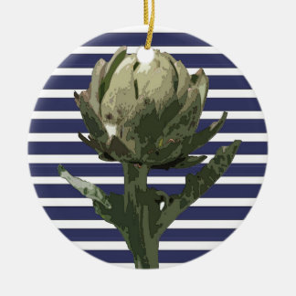 ARTICHOKE ON BLUE STRIPE CERAMIC ORNAMENT