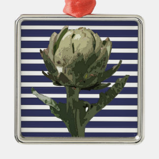 ARTICHOKE ON NAVY STRIPES METAL ORNAMENT