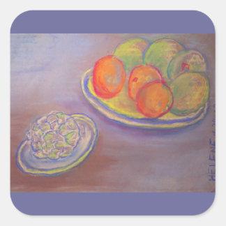 Artichoke, Oranges and Mangoes Square Sticker