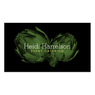 Artichoke Screen-Print Illustration Green/Black Double-Sided Standard Business Cards (Pack Of 100)