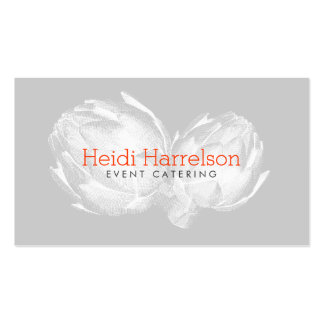 Artichoke Screen-Print Illustration White/Gray Double-Sided Standard Business Cards (Pack Of 100)