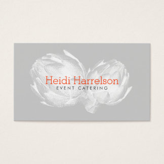 Artichoke Screen-Print Illustration White/Gray Business Card