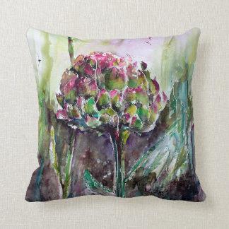 Artichoke Watercolor Art Botanical Painting Pillow
