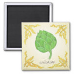 artichoke with leaves classic design 2 inch square magnet