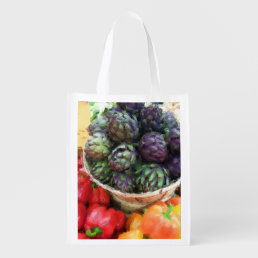 Artichokes Bell Peppers Farmers Market Grocery Grocery Bag