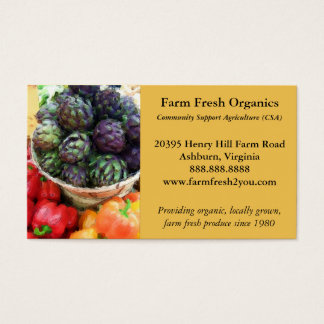 Artichokes Bell Peppers Farmers Market Vegetables Business Card