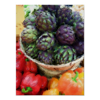 Artichokes Bell Peppers Vegetables Farmers Market Poster