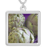Artichokes For use in USA only.) 2 Square Pendant Necklace