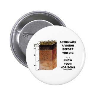 Articulate A Vision Before You Dig ... Horizons Pinback Buttons