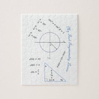 Artículo de la trigonometría del estudiante de pri rompecabezas con fotos