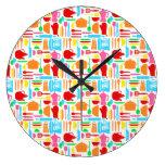 Artículos de cocina moderno colorido reloj de pared