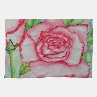 Artículos de cocina subió acuarela rosada de la toalla de cocina