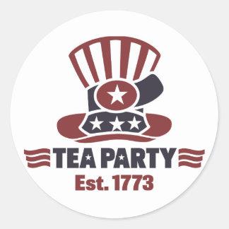Artículos de la fiesta del té pegatina redonda