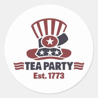 Artículos de la fiesta del té etiquetas redondas