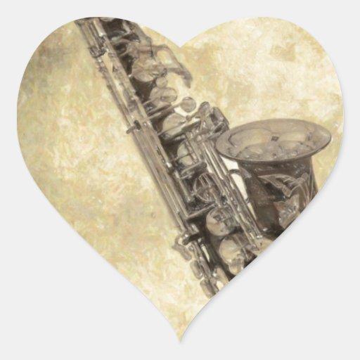 Artículos decorativos del saxofón antiguo pegatina de corazón
