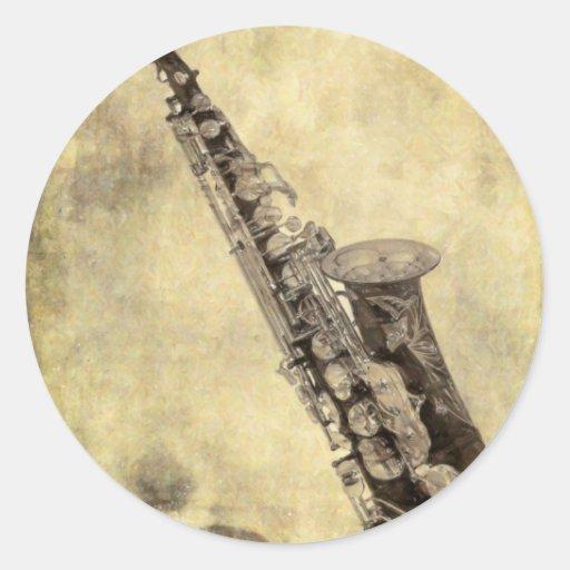 Artículos decorativos del saxofón antiguo pegatina redonda
