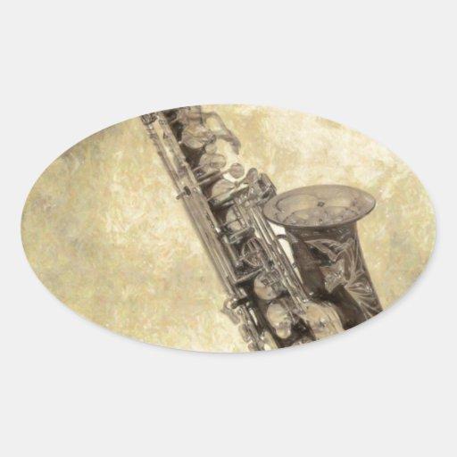 Artículos decorativos del saxofón antiguo pegatinas de óval personalizadas