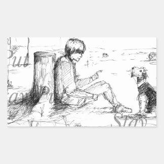 Artículos del amante del perro pegatina rectangular