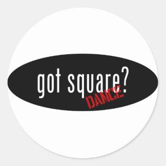Artículos del baile cuadrado - cuadrado conseguido pegatina redonda