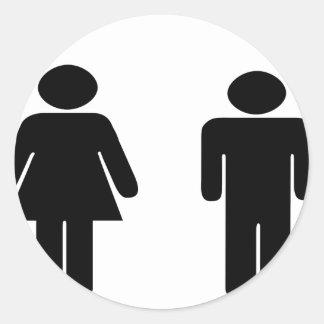 Artículos del hombre y de la mujer pegatina redonda