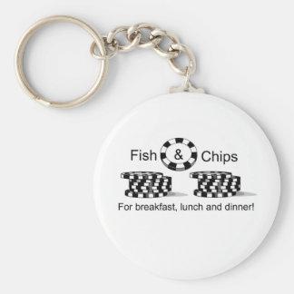 Artículos del jugador de póker de los pescado frit llavero redondo tipo pin