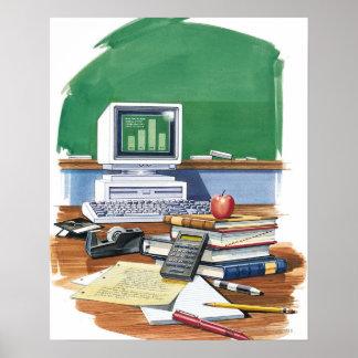 Artículos en un color del escritorio de los póster
