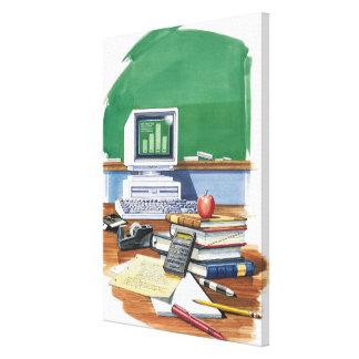 Artículos en un color del escritorio de los profes lona envuelta para galerias