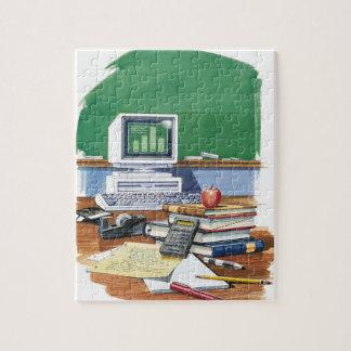Artículos en un color del escritorio de los profes puzzle
