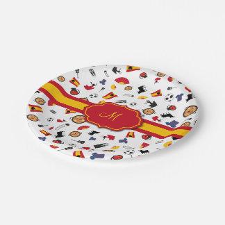 Artículos españoles con la bandera para añadir su platos de papel