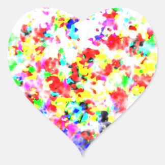 Artículos impresionantes coloreados arco iris pegatina en forma de corazón