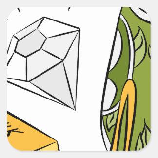 Artículos monetarios del diamante del efectivo del pegatina cuadrada