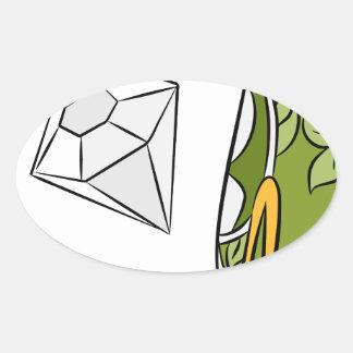 Artículos monetarios del diamante del efectivo del pegatina ovalada