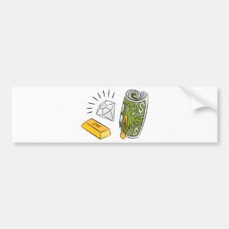 Artículos monetarios del diamante del efectivo del pegatina para auto