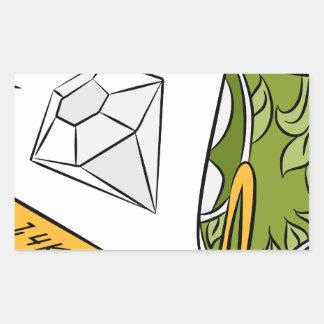 Artículos monetarios del diamante del efectivo del pegatina rectangular