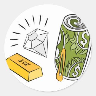 Artículos monetarios del diamante del efectivo del pegatina redonda