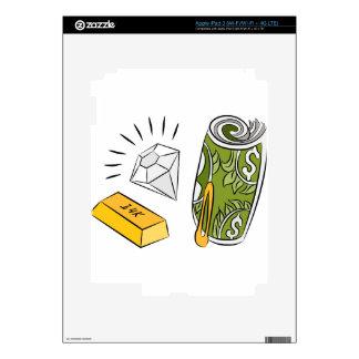 Artículos monetarios del diamante del efectivo del pegatinas skins para iPad 3