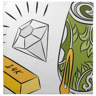 Artículos monetarios del diamante del efectivo del servilletas de papel