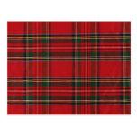 Artículos rojos y verdes de la tela escocesa postal