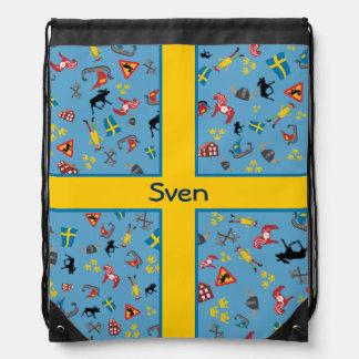 Artículos suecos de la cultura con la bandera mochila