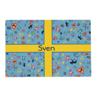 Artículos suecos de la cultura con la bandera salvamanteles