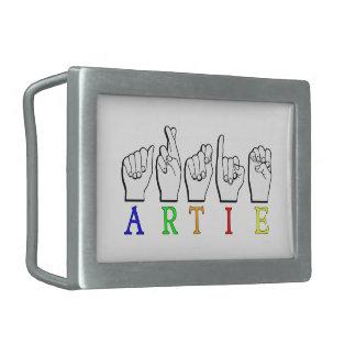 ARTIE ASL FINGERSPELLED RECTANGULAR BELT BUCKLES
