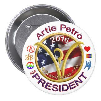 Artie para el presidente pin redondo de 3 pulgadas