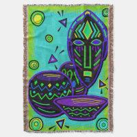 Artifact African Pop Art Throw Blanket