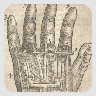 Artifical hand square sticker